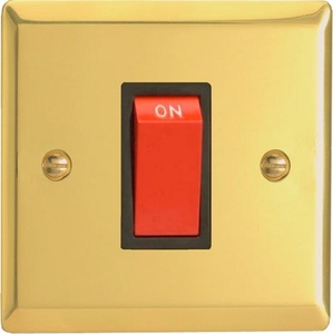 XV45SB Varilight 45 Amp Cooker Switch (Single Size), Classic Victorian Polished Brass Effect