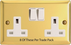 XV5W-P8  This is a Trade Pack item: 8 Units per box. Varilight 2 Gang (Double), 13 Amp Switched Socket, Victorian Polished Brass Effect
