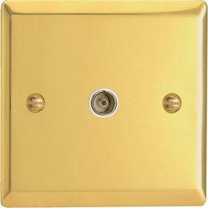 XV8iSOW Varilight 1 Gang (Single), Isolated Co-axial TV Socket, Classic Victorian Polished Brass Effect