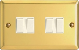 XV9W Varilight 4 Gang (Quad), 1or 2 Way 10 Amp Switch, Classic Victorian Polished Brass Effect (Double Plate)
