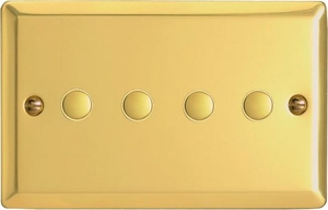 XVP4 Varilight 4 Gang (Quad) 1 or 2 way 6 Amp Push-on Push-off Switch (impulse), Classic Victorian Polished Brass Effect