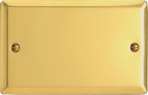 XVDB Varilight 2 Gang (Double), Blank Plate, Classic Victorian Polished Brass Effect (Double Plate)