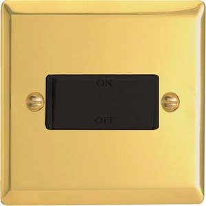 XVFiB Varilight 10 Amp Fan isolating Switch (3 Pole), Classic Victorian Polished Brass Effect