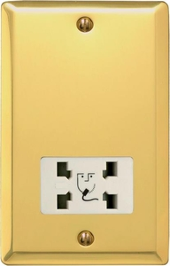 XVSSW Varilight Dual Voltage Shaver Socket, Classic Victorian Polished Brass Effect