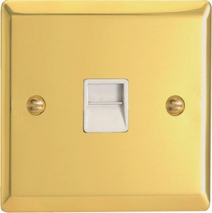 XVTMW Varilight 1 Gang (Single), Telephone Master Socket, Classic Victorian Polished Brass Effect