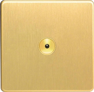IDBI601MS Varilight 1 Gang, 1 or 2 Way or Multi-way 600 Watt Touch/Remote Master Dimmer, Dimension Screwless Brushed Brass Effect