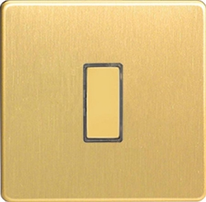 JDBES001S - Varilight V-Pro Series Eclique2, 1 Gang Tactile Touch Button Slave Unit for 2 way or Multi-way Circuits Only, Dimension Screwless Brushed Brass