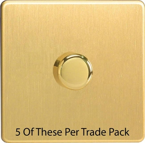 HDB3S-P5  This is a Trade Pack with 5 Units per box. Varilight V-Dim Series, 1 Gang, 1 or 2 Way 400 Watt Dimmer, Dimension Screwless Brushed Brass Effect