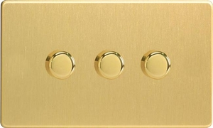 Varilight JDBDP303S, V-Pro Series 3 Gang, 1 or 2 Way, 3x300 Watt (Trailing Edge) Dimmer, Dimension Screwless Brushed Brass Effect