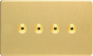 IDBI254MS Varilight 4 Gang, 1 or 2 Way or Multi-way 4x250 Watt Touch/Remote Master Dimmer, Dimension Screwless Brushed Brass Effect