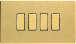 JDBES004S - Varilight V-Pro Series Eclique2, 4 Gang Tactile Touch Button Slave Unit for 2 way or Multi-way Circuits Only, Dimension Screwless Brushed Brass