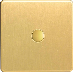 XDBP1S Varilight 1 Gang (Single) 1 or 2 way 6 Amp Push-on Push-off Switch (impulse), Dimension Screwless Brushed Brass Effect