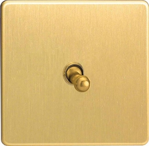 XDBT1S Varilight 1 Gang (Single), 1 or 2 Way 10 Amp Classic Toggle Switch, Dimension Screwless Brushed Brass Effect