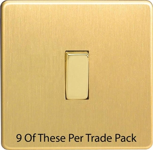 XDB1S-P9   This is a Trade Pack item: 9 Units per box.  Varilight 1 Gang (Single), 1 or 2 Way 10 Amp Switch, Dimension Screwless Brushed Brass Effect