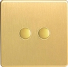 XDBP2S Varilight 2 Gang (Double) 1 or 2 way 6 Amp Push-on Push-off Switch (impulse), Dimension Screwless Brushed Brass Effect