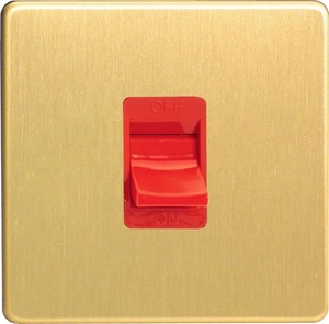 XDB45SWS Varilight 45 Amp Cooker Switch (Single Size), Dimension Screwless Brushed Brass Effect