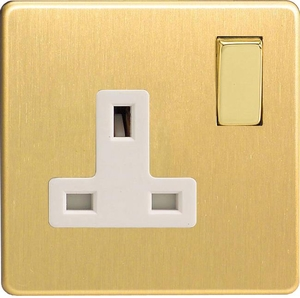 XDB4WS Varilight 1 Gang (Single), 13 Amp Switched Socket, Dimension Screwless Brushed Brass Effect
