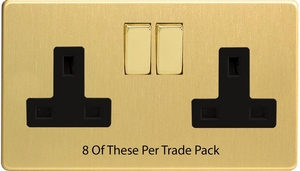 XDB5BS-P8  This is a Trade Pack item: 8 Units per box. Varilight 2 Gang (Double), 13 Amp Switched Socket, Dimension Screwless Brushed Brass Effect