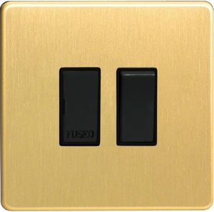 XDB6BS-SP Varilight 1 Gang (Single), 13 Amp Switched Fused Spur, Dimension Screwless Brushed Brass Effect (Bespoke & Special)