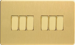 XDB96S Varilight 6 Gang 1or 2 Way 10 Amp Switch, Dimension Screwless Brushed Brass Effect (Double Plate)