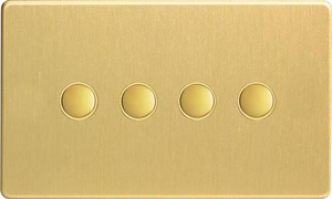 XDBP4S Varilight 4 Gang (Quad) 1 or 2 way 6 Amp Push-on Push-off Switch (impulse), Dimension Screwless Brushed Brass Effect