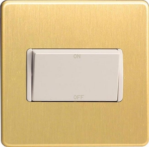 XDBFIWS Varilight 10 Amp Fan isolating Switch (3 Pole), Dimension Screwless Brushed Brass Effect
