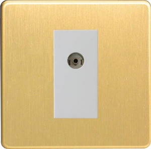 XDBG8WS Varilight 1 Gang (Single), Co-axial TV Socket, Dimension Screwless Brushed Brass Effect with White insert