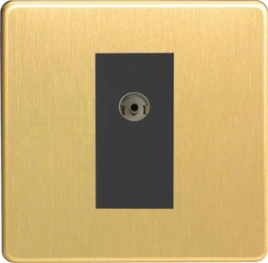 XDBG8ISOBS Varilight 2 Gang (Double), Isolated Co-axial TV Socket, Dimension Screwless Brushed Brass Effect