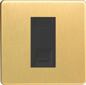XDBGTMBS Varilight 1 Gang (Single), Telephone Master Socket, Dimension Screwless Brushed Brass Effect with Black insert