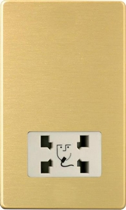 XDBSSWS Varilight Dual Voltage Shaver Socket, Dimension Screwless Brushed Brass Effect
