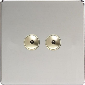 IDCI402MS Varilight 2 Gang, 1 or 2 Way or Multi-way 2x400 Watt Touch/Remote Master Dimmer, Dimension Screwless Polished Chrome