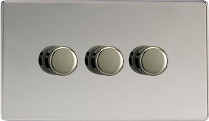 IDCDP303S Varilight V-Plus 3 Gang, 1 or 2 Way 3x300 Watt/VA Dimmer, Dimension Screwless Polished Chrome