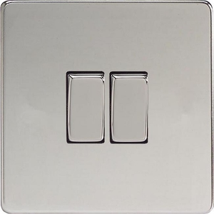 XDC2S Varilight 2 Gang (Double), 1 or 2 Way 10 Amp Switch, Dimension Screwless Polished Chrome