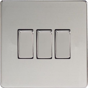 XDC3S Varilight 3 Gang (Triple), 1 or 2 Way 10 Amp Switch, Dimension Screwless Polished Chrome