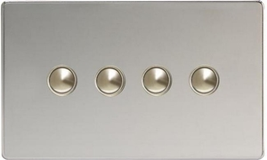 XDCM4S Varilight 4 Gang (Quad), 1 Way, 6 Amp Impulse Retractive Switch (Push To Make), Dimension Screwless Polished Chrome