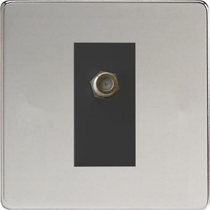 XDCG8SBS Varilight 1 Gang (Single), Satellite TV Socket, Dimension Screwless Polished Chrome with Black insert