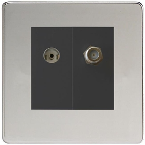 XDCG88SBS Varilight 2 Gang (Double), Co-axial TV and Satellite Socket, Dimension Screwless Polished Chrome