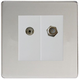 XDCG88SWS Varilight 2 Gang (Double), Co-axial TV and Satellite Socket, Dimension Screwless Polished Chrome