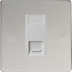 XDCGTSWS Varilight 1 Gang (Single), Telephone Slave Socket, Dimension Screwless Polished Chrome with White insert