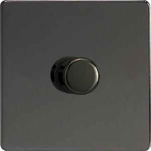IDIP401S Varilight V-Plus 1 Gang, 1 or 2 Way 400 Watt/VA Dimmer, Dimension Screwless Iridium Black