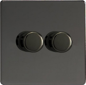 IDIP302S Varilight V-Plus 2 Gang, 1 or 2 Way 2x300 Watt/VA  Dimmer, Dimension Screwless iridium Black