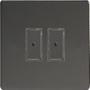 JDIE102S - Varilight V-Pro Series Eclique2, 2 gang Intelligent Programmable Master Dimmer, with Tactile Touch Button and Integrated Remote Control Sensor 0-100 Watts of LEDs (10 LEDs Max), Dimension Screwless Iridium Black