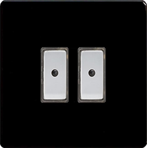 JDLE102S - Varilight V-Pro Series Eclique2, 2 gang Intelligent Programmable Master Dimmer, with Tactile Touch Button and Integrated Remote Control Sensor 0-100 Watts of LEDs (10 LEDs Max), Dimension Screwless Premium Black