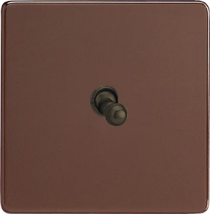 XDMT1S Varilight 1 Gang (Single), 1 or 2 Way 10 Amp Classic Toggle Switch, Dimension Screwless Mocha