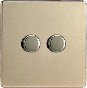 IDNP302S Varilight V-Plus 2 Gang, 1 or 2 Way 2x300 Watt/VA  Dimmer, Dimension Screwless Satin Chrome