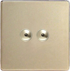 IDNI402MS Varilight 2 Gang, 1 or 2 Way or Multi-way 2x400 Watt Touch/Remote Master Dimmer, Dimension Screwless Satin Chrome