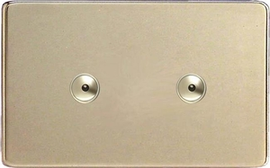 IDNI602MS Varilight 2 Gang, 2x600W 1 or 2 Way or Multi-way Touch/Remote Master Dimmer, Dimension Screwless Satin Chrome