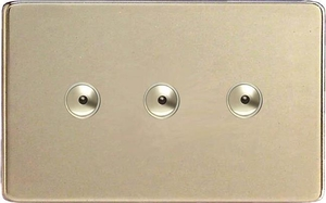 IDNI403MS Varilight 3 Gang, 1 or 2 Way or Multi-way 3x400 Watt Touch/Remote Master Dimmer, Dimension Screwless Satin Chrome