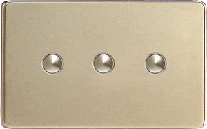 IDNS003S Varilight 3 Gang, Multi-way Touch Slave Unit, Dimension Screwless Satin Chrome