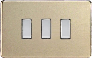 JDNES003S - Varilight V-Pro Series Eclique2, 3 Gang Tactile Touch Button Slave Unit for 2 way or Multi-way Circuits Only, Dimension Screwless Satin Chrome